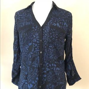 Express Blue Black Animal Print Button Casual Top